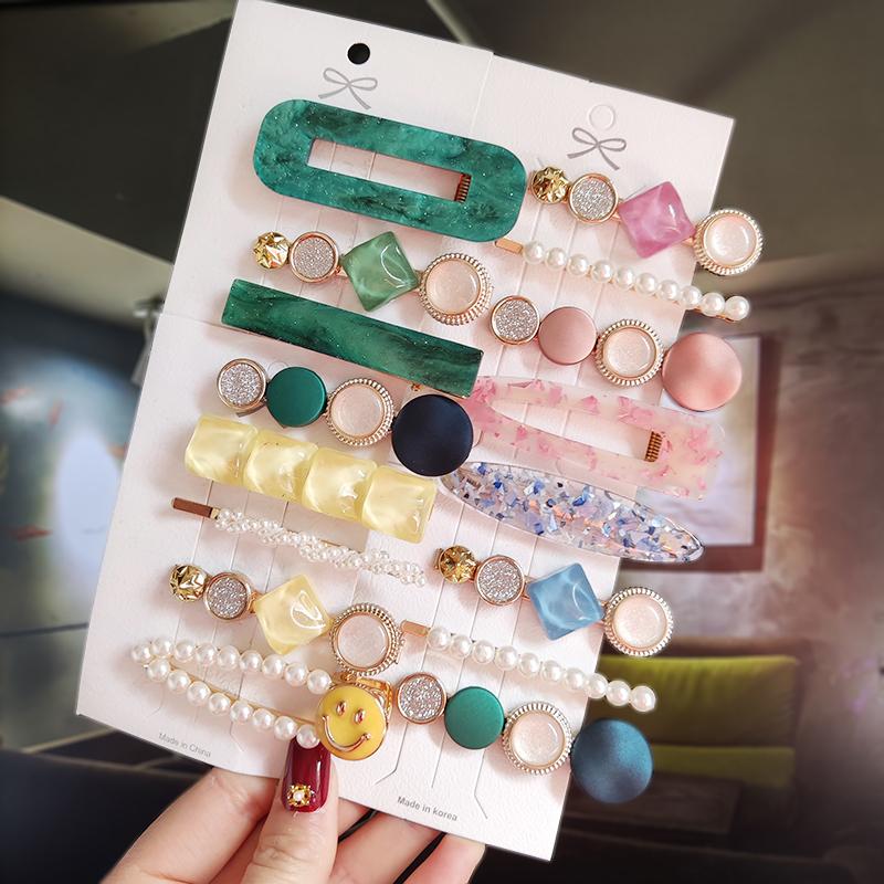 New Fashion 3/4pcs Set Pearl Hair Clip For Women Korean Hairpins Geometric Crystal Hair Barrettes Girl Hairgrip Hair Accessories