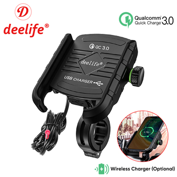 Deelife Motorcycle Phone Holder for Moto Motorbike Mirror Mobile Stand Support USB Charger Wireless Charging Cellphone Mount 1