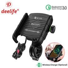 Deelife suporte do telefone da motocicleta para moto espelho móvel suporte usb carregador de carregamento sem fio celular montagem