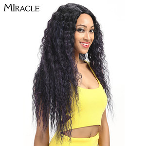 """Image 2 - Miracle Hair Ombre Pruik Kinky Krullend Diepe Middelste Deel Lace Pruiken 150 Dichtheid Lange 28 """"Hittebestendige Synthetische Pruiken voor Zwarte Vrouwen"""