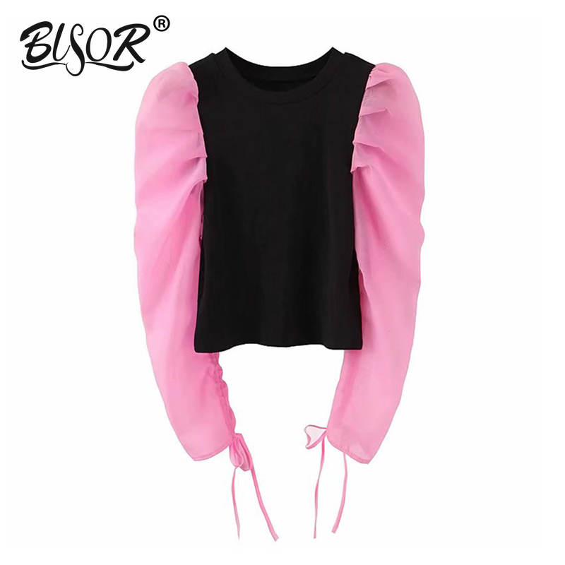 Women Sweet Organza Knitted Blouse Pleated Puff Long Sleeve O Neck Stretchy Shirt Female Vintage Casual Pink Tops Blusas