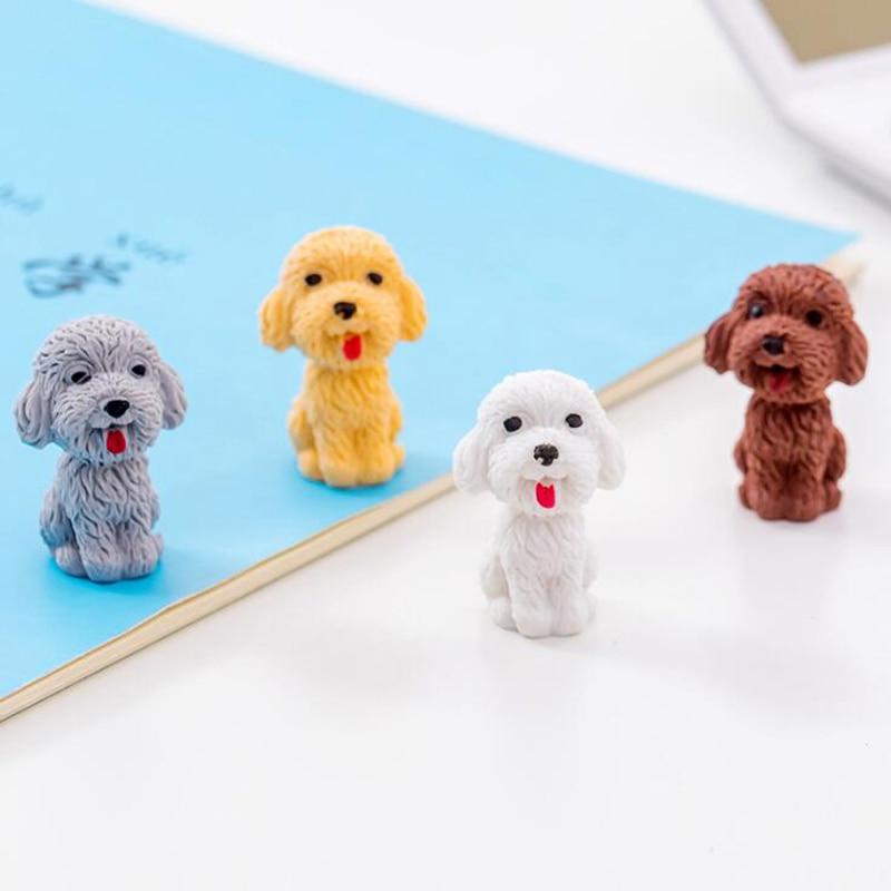 Cute Cartoon Teddy Dog Pencil Eraser Creative Teddy Dog Student Pencil Writing Drawing Correcting Eraser Child Gift Pencil Cap