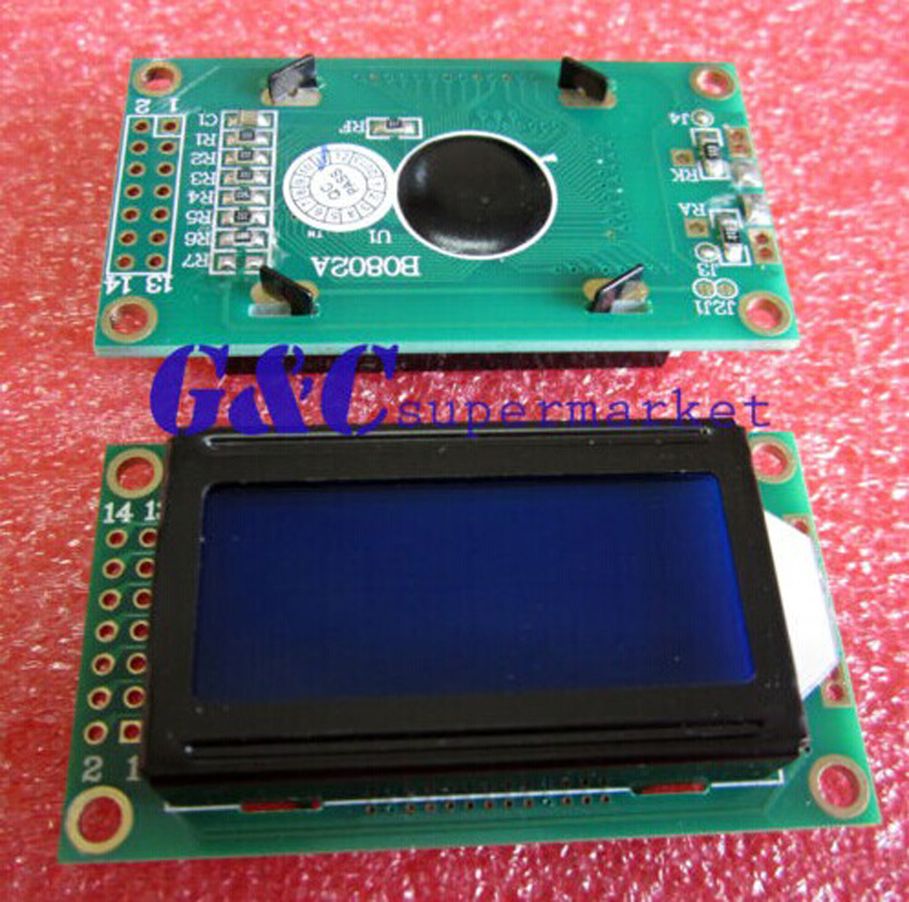 5PCS 0802 8X2 Character LCD Module Blue Backlight NEW Electronic Product Accessories Compatible Board