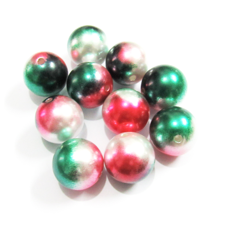 Newest 20mm 100pcs/lot Red/Dark Green/White Colorful /Confetti Chritmas Acrylic Imitation Pearl Beads For Chunky Kids Jewelry