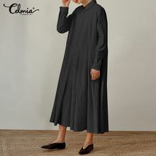 Celmia 2020 Autumn Maxi Long Dresses Plus Size Women Shirt Dress Vintage Pleated Long Sleeve Vestidos Casual Party Robe Femme
