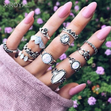 X-ROYAL 12Pcs/set European Vintage Style Hyperbole Zircon Rings Fashion Female Antique Silver Finger Women Knuckle