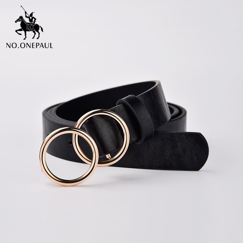 NO.ONEPAUL Luxury Designer Belt For Women Double Ring Alloy Pin Buckle With Fashion Female Dress Ladies Belts Women Belt Student
