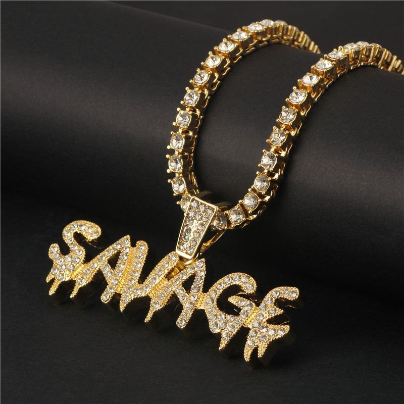 Colar de ouro/prata cor iced para fora correntes micro pave zircão cúbico selvagem pingente colar charme homem presentes agente