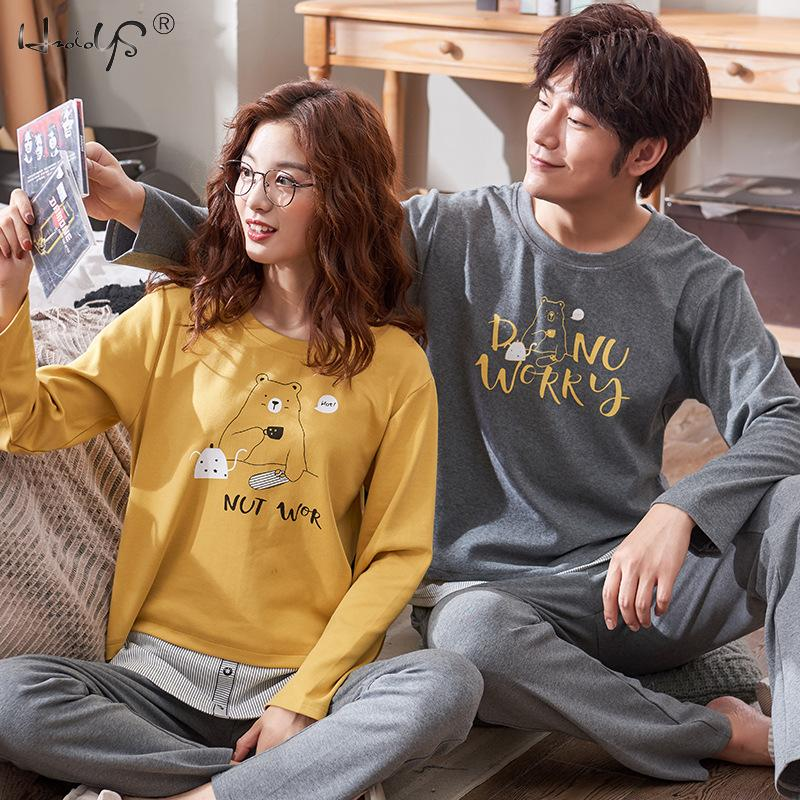 Pyjamas Couples Sleepwear Men Lounge Long-Sleeve Homewear-Plus Winter Cotton Cartoon