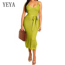 YEYA Women Sexy V Neck Crochet Knit Pencil Dress Fashion Spaghetti Strap Tie Up Bodycon Bandage Casual Vocation Party Dress