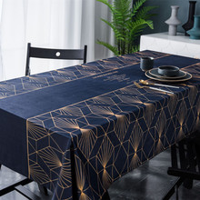 Blue Tablecloth Gold Geometric Table Cover Mantel Multi function Printed Cloth