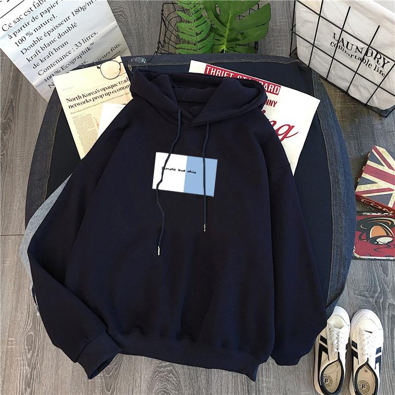 Winter Women Hoody Sweatshirt Print Letters Harajuku Fleece Lady Pullover Casual Concise Students Loose Long Sleeves Tops Female