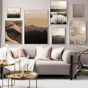 Горная пустыня, капли росы, тростник, пейзаж, настенный арт, холст, живопись, скандинавские плакаты и принты, настенные картины для декора го...