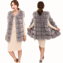 High quality Natural Fox Fur Vest Female Fashion Winter Sleeveless Jacket Leathe
