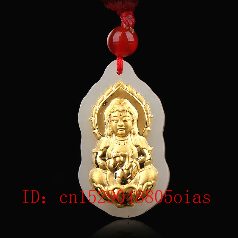 Natural Chinese Hetian White Jade Pendant Buddha Mosaic Gold Hand-carved Necklace Genuine Fashion Charm Jewellery Amulet Gifts