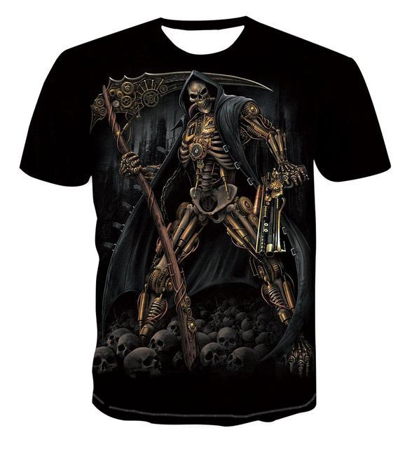 Crâne T-shirt hommes décontracté à manches courtes été maille respirant col rond confortable T-shirt 3D impression horreur à manches courtes