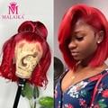 Парик Malaika с прямыми волосами Боб, парики из человеческих волос на сетке спереди, 13x4, красные синие бразильские парики с предварительно выщи...