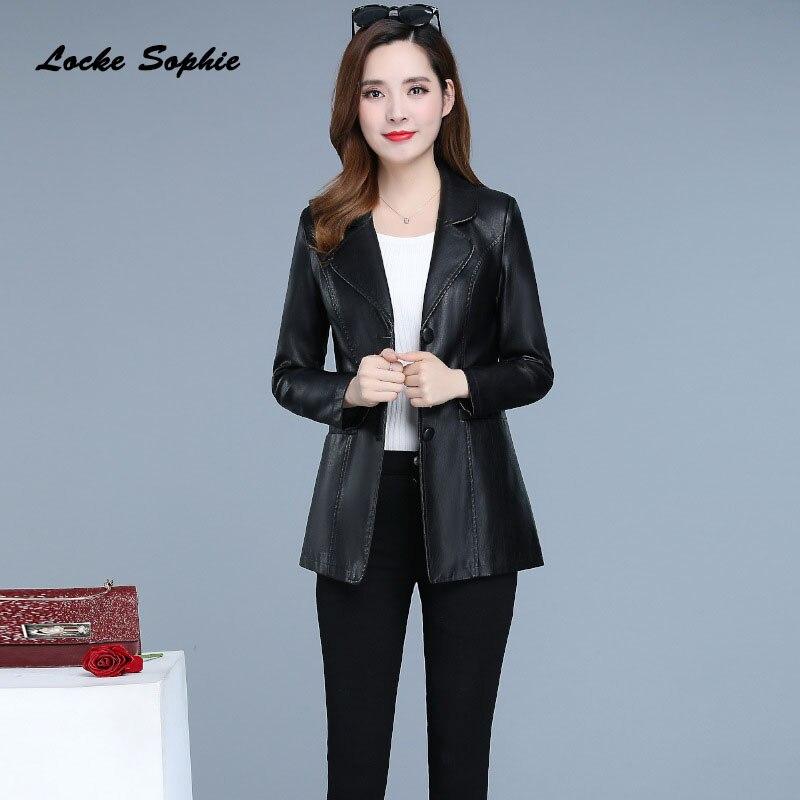 1pcs Womens Plus Size Slim Fit  Jacket Coats 2019 Autumn Faux Fur PU Leather Splicing Suit Jacket Ladies Loose Locomotive Coats