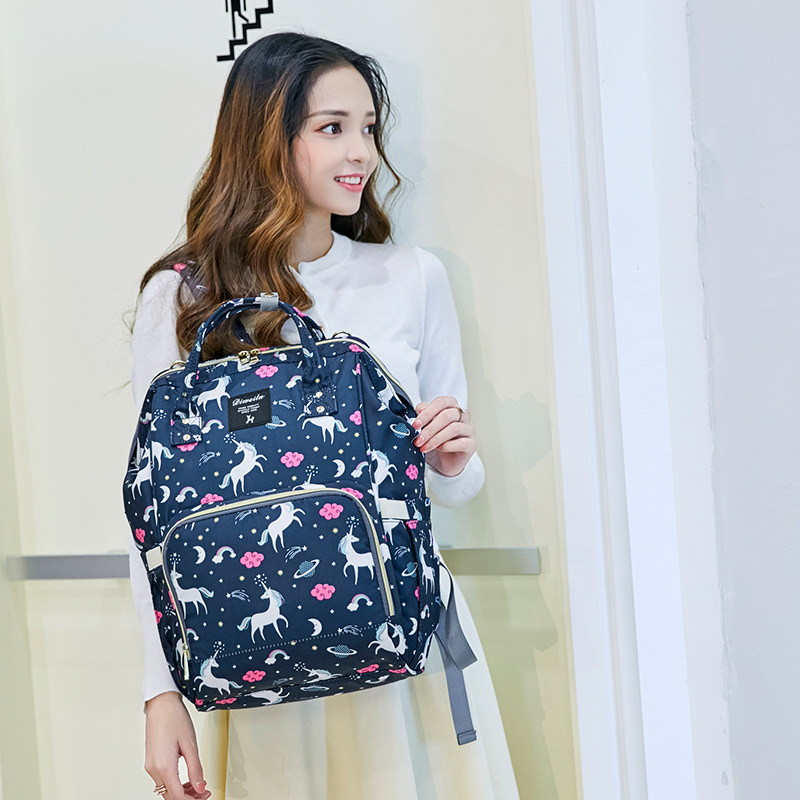 Nueva llegada 2019 maternidad mochila de gran capacidad impermeable mamá maternidad pañal bolsa portátil cochecito organizador bolsa para bebé - 2