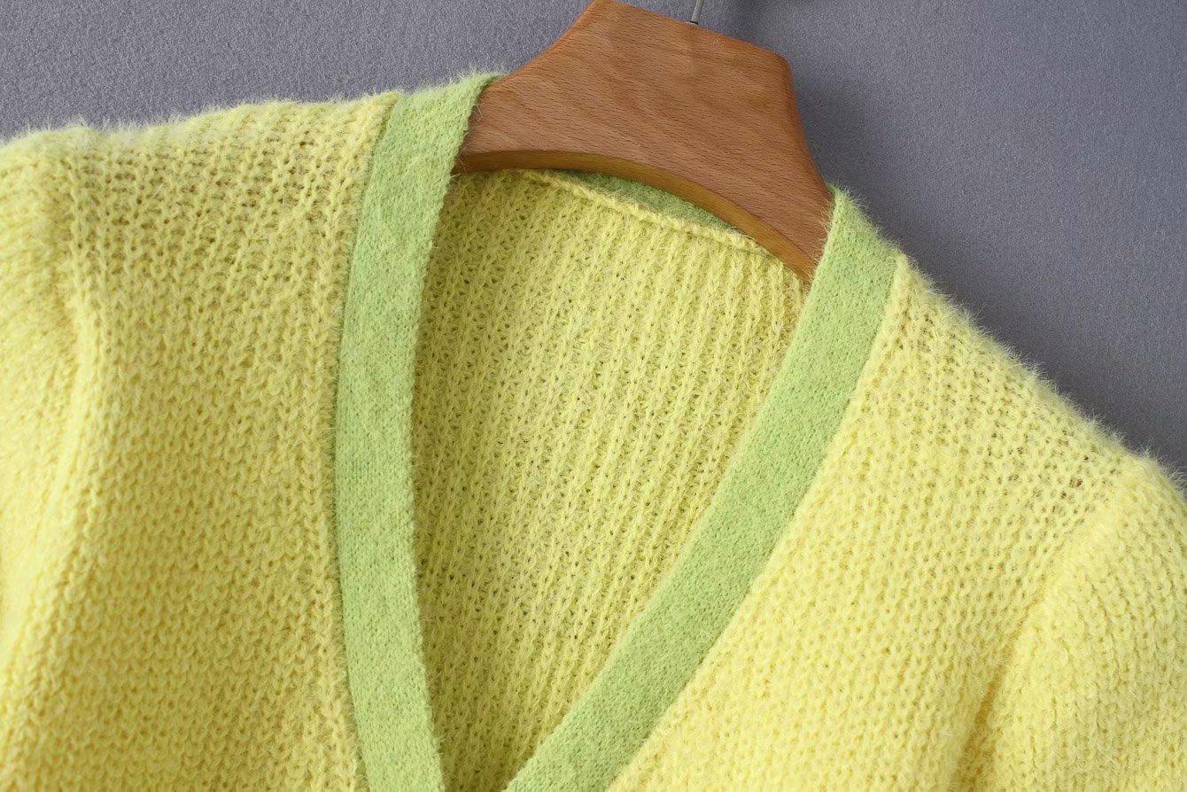 Pink cardigan womens sweaters korean crop sweater yellow autumn tops short sleeve v neck short cardigan mohair sweater fall 19 12