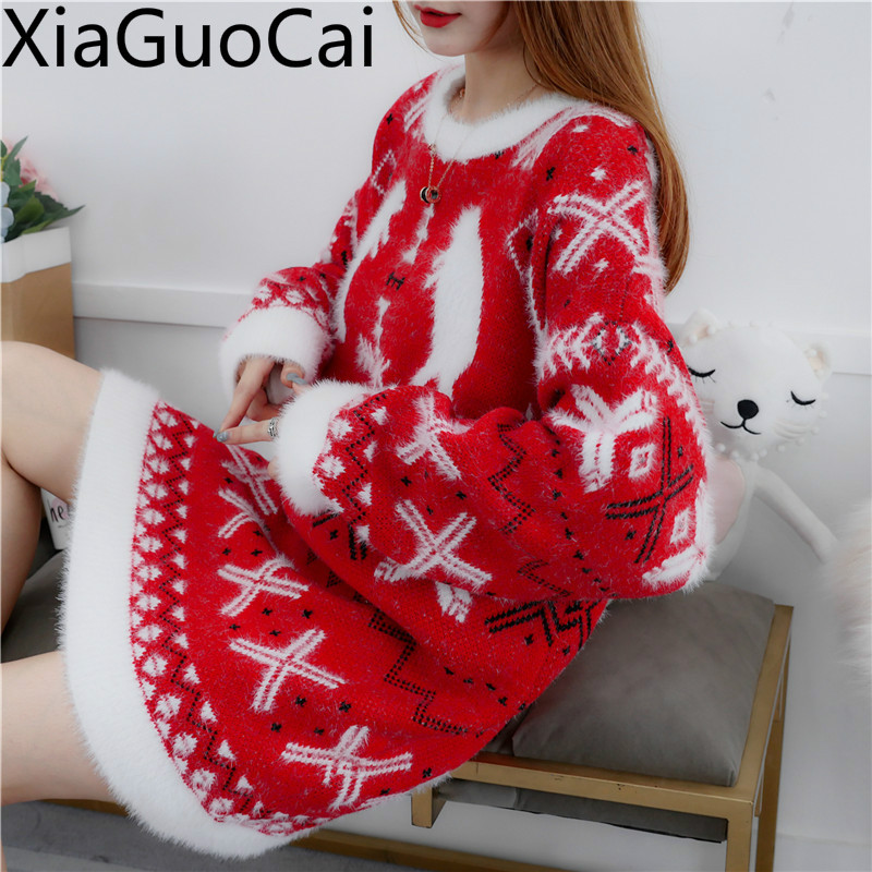Winter Warm New Women Long Sweaters Section Net Red Women's Christmas Sweaters Hooded Pullovers Wind Winter Christmas Coats