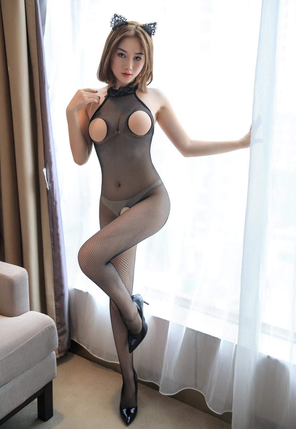 Sexy Costume Women's Large Size Sexy Lingerie Open File Uniform Temptation Siamese Mesh Stockings For Hot Girls Sexy Clothing