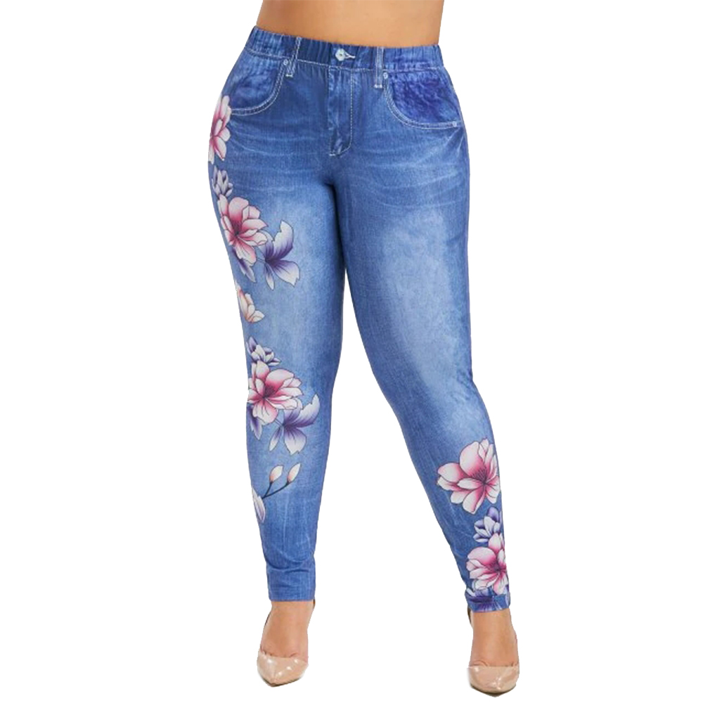 6XL Plus Size Women Floral Print Long Pant Imitation Denim Pants Ladies Zipper Tights Pant Female Spodnie Damskie Streetwear D30