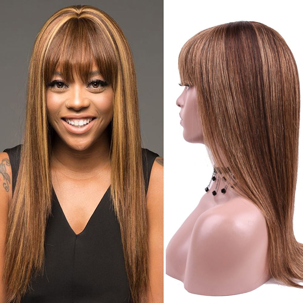 Human Hair Wigs With Bangs Straight P4/27 Colored Brown Blonde Brazilian Hair Wigs For Women Full Machine Wig 20 Inch