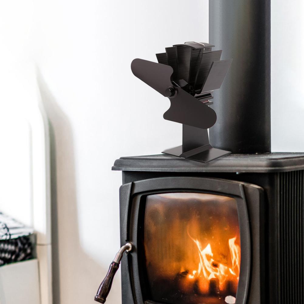 2-Blade Thermal Power Fan Wood Stove Fan Heat Powered Fireplace Fan Blower Aluminum Fireplace Fan For Indoor House