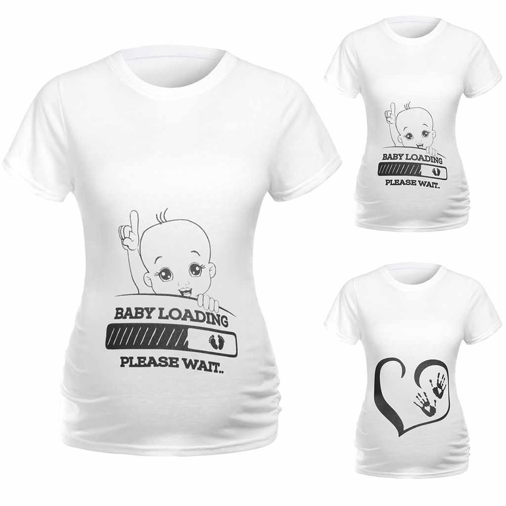 Frauen T-shirt Tops Lose Schwangerschaft Casual Kurzarm Pullover Mutterschaft Kleidung Baby Kommende Damen Sommer Pflege Top T-shirt