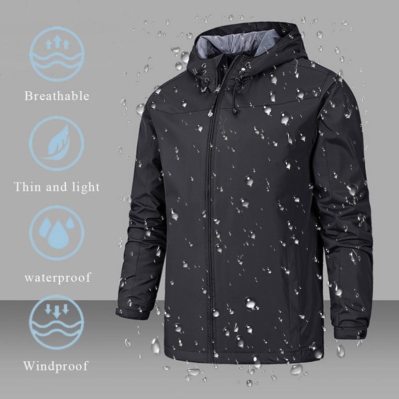 2019 Waterproof Coat Men Windproof Warm Solid Color Lightweight Hooded Zipper Fashion Male Coat Outdoor Sportswear Winter Jacket