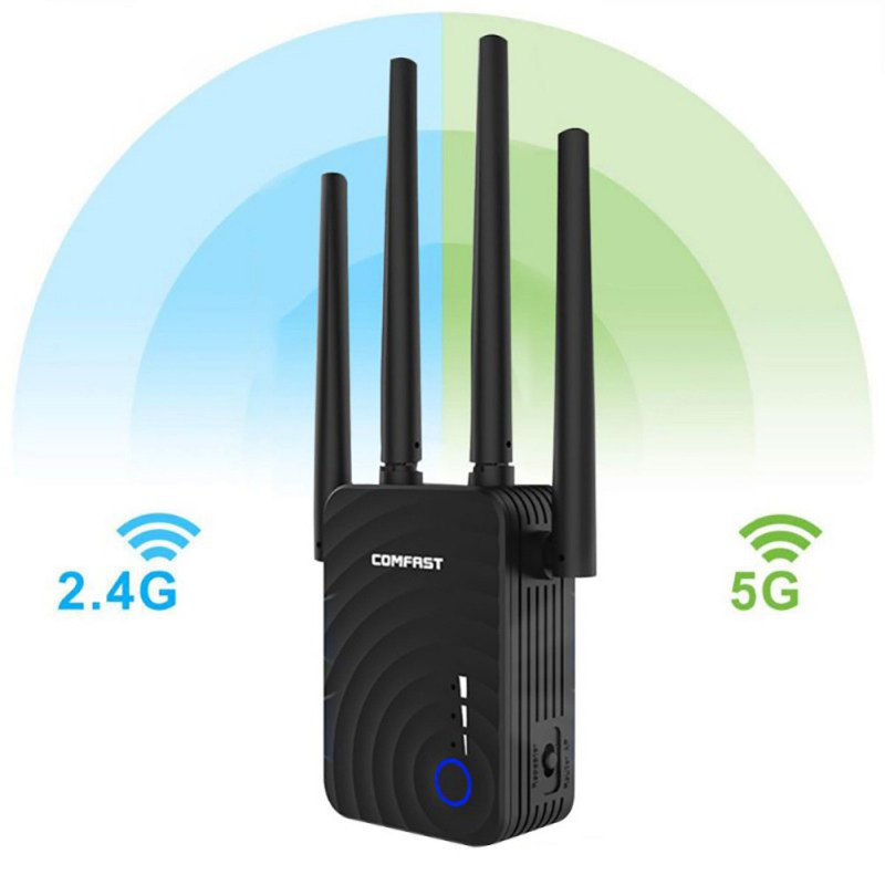 Dual-Band 1200m Wireless Repeater 5.8g With Four-Antenna Wifi Signal Boosters Amplifier  WiFi Range Extender New