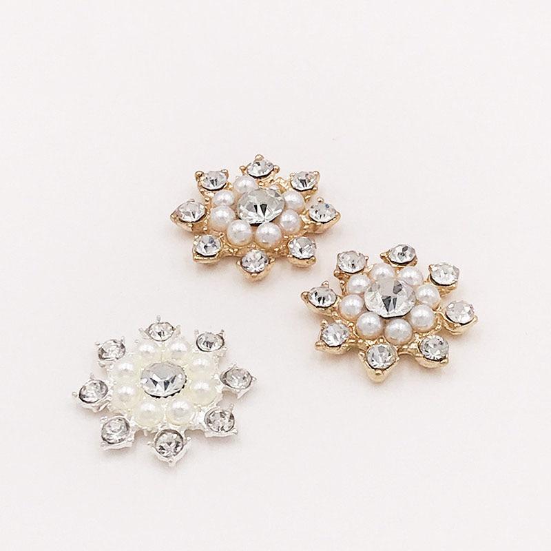 10pcs/lot Pearl alloy DIY Pendant Crystal Rhinestone Buttons Flower Cluster Flatback Wedding Embellishment Jewelry Craft