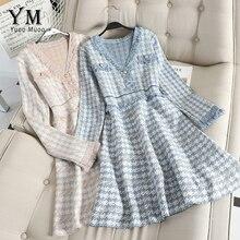 YuooMuoo, хорошее качество, европейский бренд, элегантное женское офисное платье, осеннее платье с v-образным вырезом, с длинным рукавом, с бахромой, Короткое женское платье, Vesgidos
