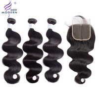 Body Wave 3 Bundles With Closure Brazilian Hair Weave Non Remy Hair Extensions Human Hair Bundles With Closure Modern Show Hair