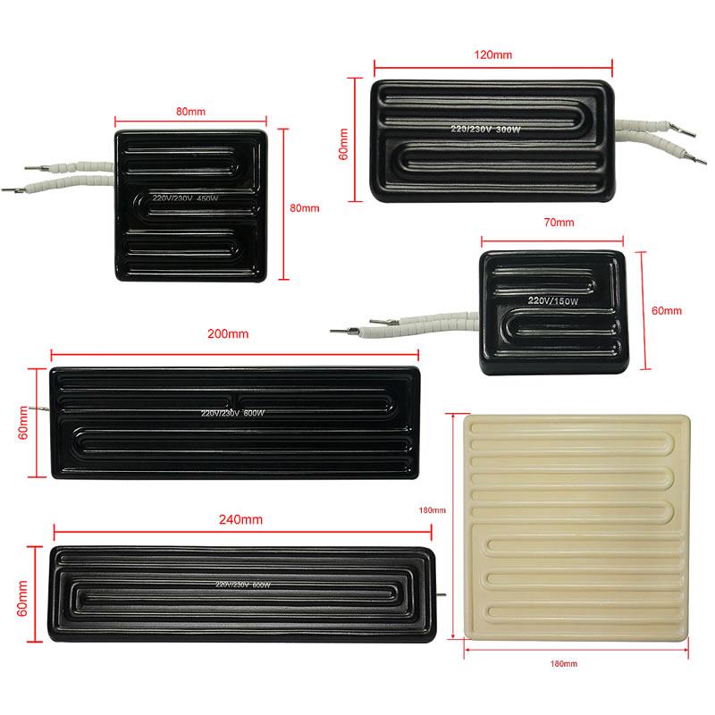 80*80mm 60*70mm 120*60mm 200*60mm 240*60mm 180*180mm 150W 300W 450W 600W 800W Infrared Ceramic Heating Plate BGA Rework Station