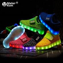 크기 25 37 어린이 Led USB 충전 빛나는 신발 어린이 훅 루프 신발 어린이 빛나는 스 니 커 즈 어린이 Led 빛나는 신발