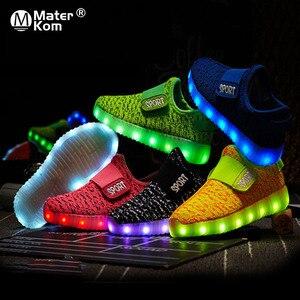 Image 1 - サイズ25 37子供led usb充電グローイング靴子供のフックループ靴子供のグローイングスニーカー子供led発光靴