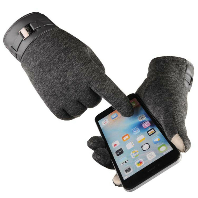 Men Business Warm Gloves Touch Screen Leather Gloves Thermal Fleece Lined Driving Winter Warm Gift Business Work Meeting Gloves