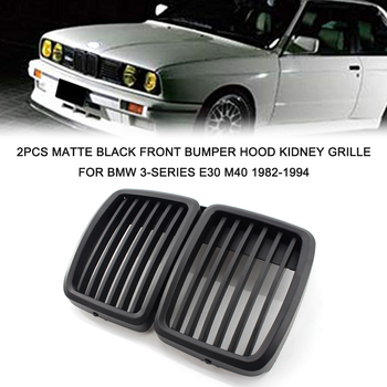 2Pcs Matte Black Front Bumper Hood Kidney Grille Racing Grille Replacement for BMW 3-Series E30 M40 1982-1994 image