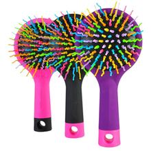 Anti-static Curl Straight Hair Brush Pro Handle Tangle Detangling Hair Comb Shower Electroplate Massage Comb Hair Styling Tools