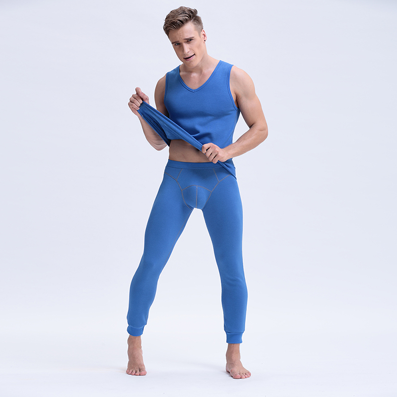 New Mens V-Neck Long Johns 2 Piece Set Warm Thick Plus Velvet Winter Thermal Underwear Men Autumn Tank Top And Pants