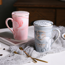 EWAYS Natural Marble 12 Constellation Ceramic Pink Zodiac Mug with lid Coffee Mugs Creative Personality Cup 400ml Lead-free