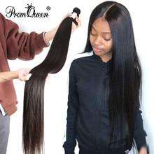 Promqueen peruano cabelo humano liso, 8-40 polegadas 100% de cor natural remy extensões