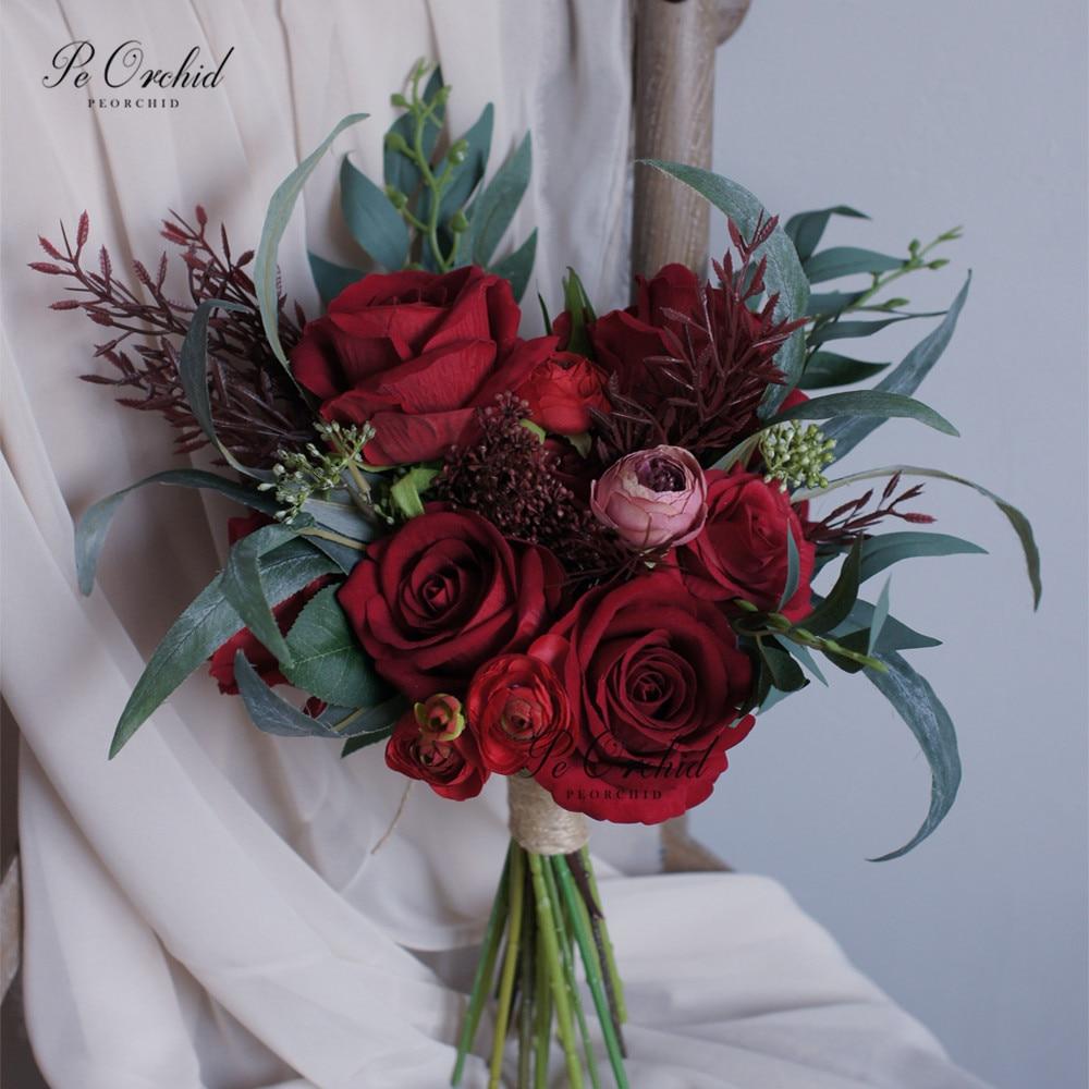 PEORCHID 2020 Vintage Red Roses Bridal Bouquet Artificial Bridesmaids Bouquets Wedding Brides Hand Holding Flowers букеты цветов