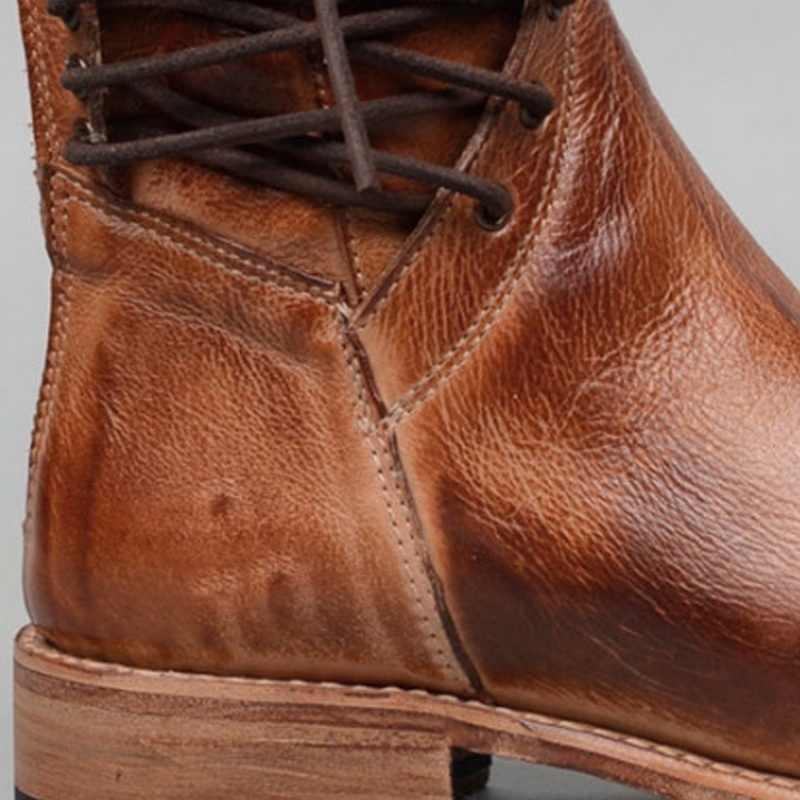 Adisputent Nieuwe Retro Vrouw Schoenen Pu Leer Winter Laarzen Vrouwen Mode Vintage Klinknagels Ronde Neus Lace-Up Mid- kalf Rits Laarzen 43