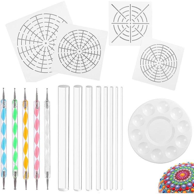 Мандала Искусство Инструменты Dotting 18 набор включая 4 мандалы трафареты, 8 акриловых стержней, лоток для краски, 5 двухсторонних инструментов ...