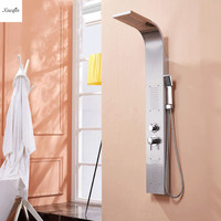 Brushed Nickel Shower Panel Tower Tub Spout Tower Shower Column Rain Waterfall Massage Body System Jet Tub Tap With Hand Shower