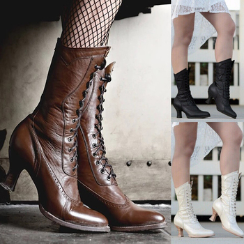 Women Autumn Winter Mid-Calf Boots Lace Up Hoof Heels  Retro Victorian Europe Style Shoes Ladies Fashion