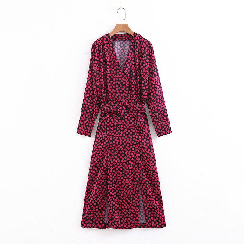 2019 Western Style Spring And Summer WOMEN'S Dress New Style Long Sleeve Powder Dotted Printed Long Dress